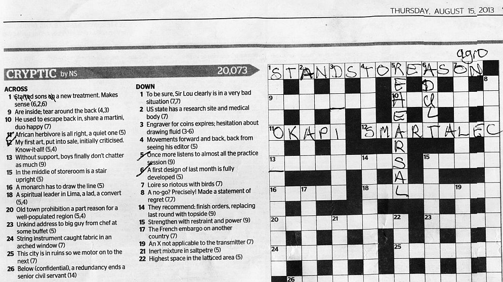 cryptic crossword 15Aug2013